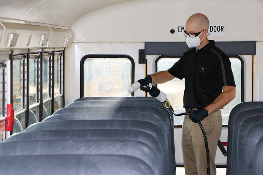 Disinfect school bus